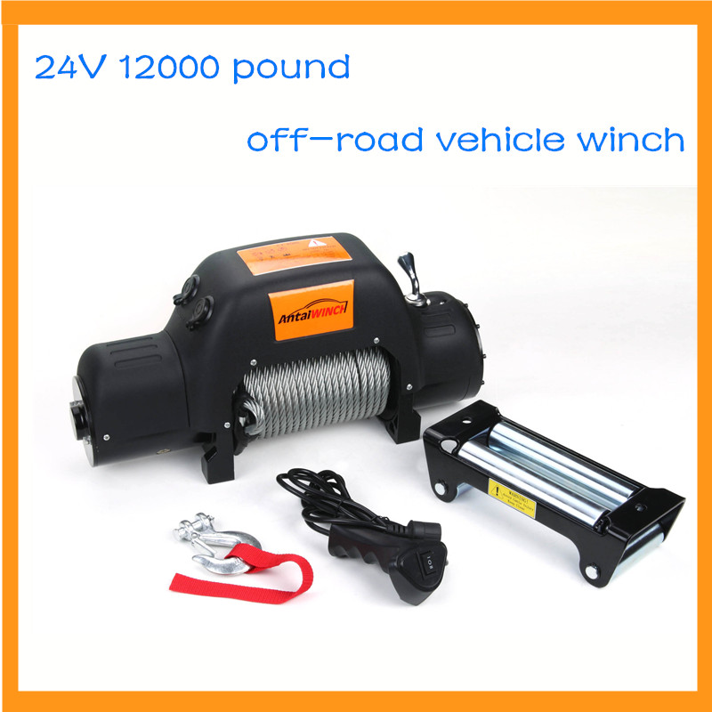 24v 12000 Pound Off-road Vehicle Winch With Wireless Remote Control