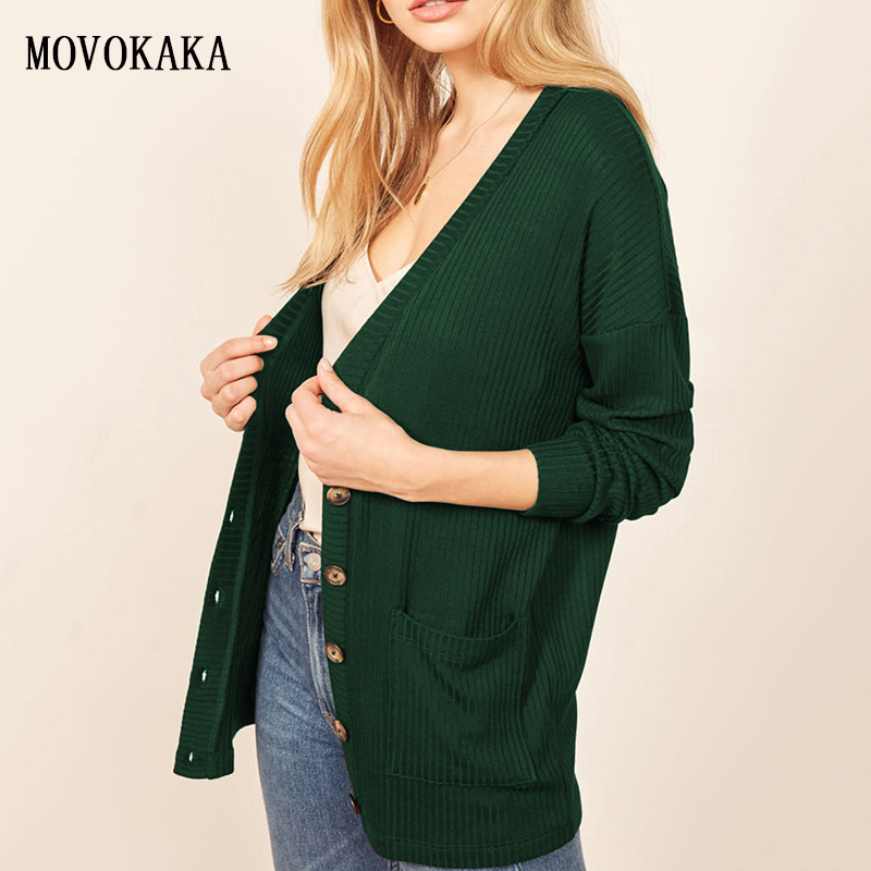 Cardigan Women Sweater Kint Plus-Size Long-Sleeves Female Autumn Winter Fashion Hot Green