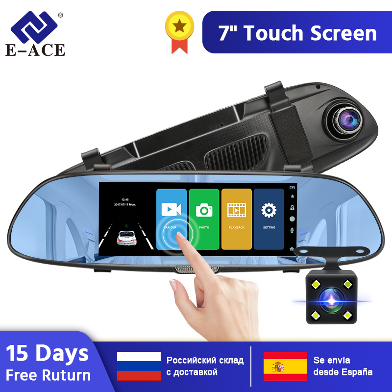 E-ACE Auto DVR FHD 1080P 7,0 Zoll Video Recorder Spiegel Kamera Dual Objektiv mit Rückansicht Kamera Auto Registrator dash Cam