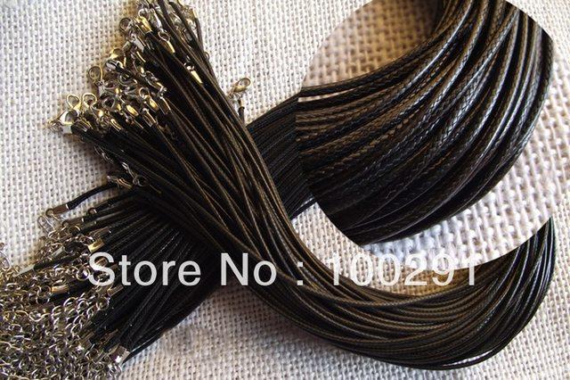 Livraison gratuite!!! 1000 pièces bricolage fait main noir tressé cire collier cordon, 1.5mm 45cm longueur collier cordon