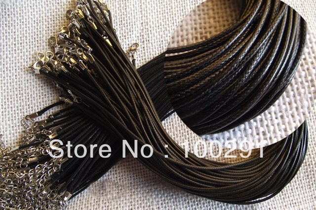 Wholesale Hot Sale  1000pcs DIY handmade black braided wax necklace cord ,1.5mm X 45cm lenght necklace cord