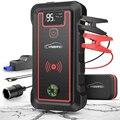YABER 10 Вт беспроводной зарядный автомобильный стартер 2500A 23800 мАч автомобильный аккумулятор стартер с ЖК-экраном Светодиодный фонарик молото...