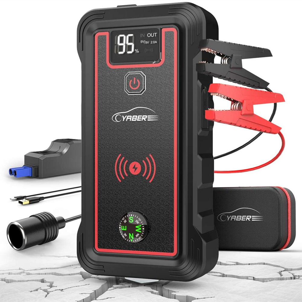 YABER 2500A 23800mAh Car Jump Starter 10W wireless charger Car Battery Power Bank with LCD Screen LED Flashlight Safety Hammer