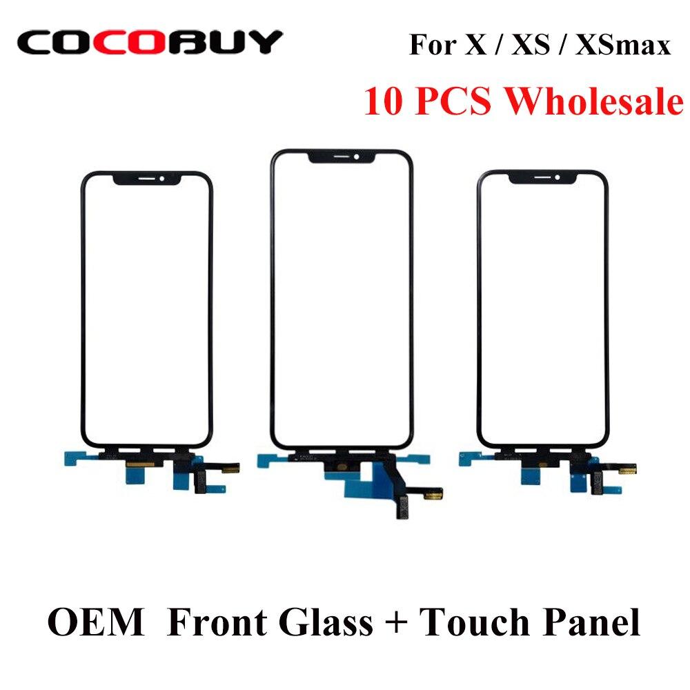 Aletler'ten Elektrikli Alet Setleri'de Toptan 10 adet OEM kalite dokunmatik LCD ekran Panel ekran iPhone X XS XSMAX ön cam ile esnek kablo yedek parçaları title=