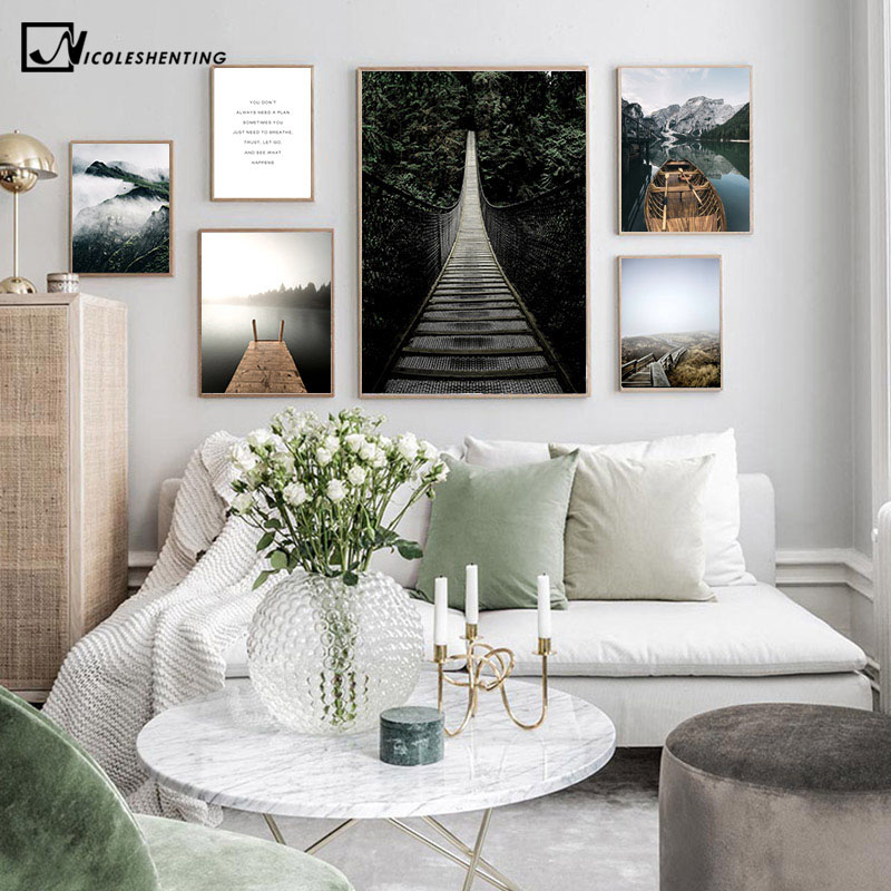 Scandinavian Mountain Foest Bridge Landscape Poster Nordic Art Canvas Print Nature Scenery Painting Wall Picture Home Decoration