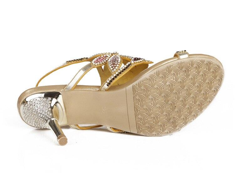 G-sparrow New Large Size Diamond Gold Crystal Wedding High Heeled Sandals Rhinestone Thick Heel Elegant Shoes17