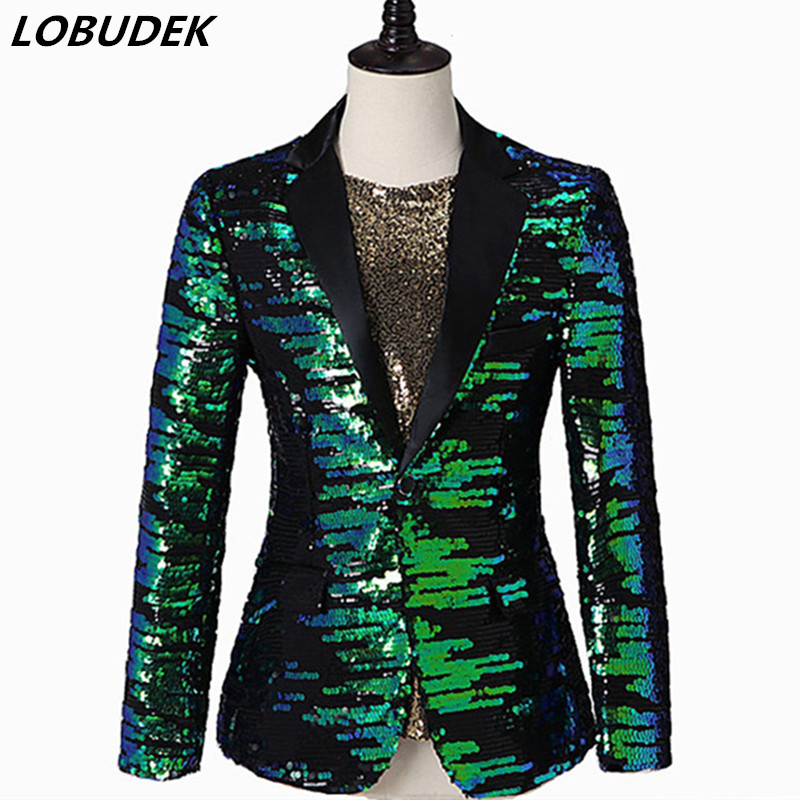 <font><b>Men</b></font> Shiny <font><b>Green</b></font> <font><b>Sequins</b></font> Blazers Stage Casual Coat Bar Nightclub Singer Host Performance Costume Wedding Groom Slim Suit <font><b>Jackets</b></font> image