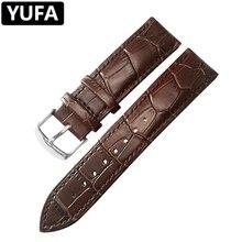 YUFA Watchbands Genuine Leather Watch Band Straps 12 14mm 16mm 18mm 20mm 22mm Watch accessories Women Men Brown Black Belt Band стоимость