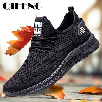 Męskie obuwie wiosenne siatkowe trampki czarne buty do biegania letnie nowe tanie Sapatos De Mujer modne oświetlenie oddychające męskie buty tanie i dobre opinie QIFENG Mesh (air mesh) Lace-up Pasuje prawda na wymiar weź swój normalny rozmiar Podstawowe Wiosna jesień Stałe light