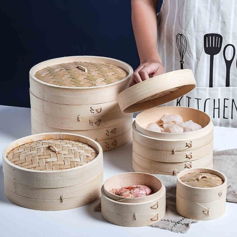 4 Inch Itchen Bamboo Steamer Basket Asian Food Steamer For Dim Sum Dumplings T8WE