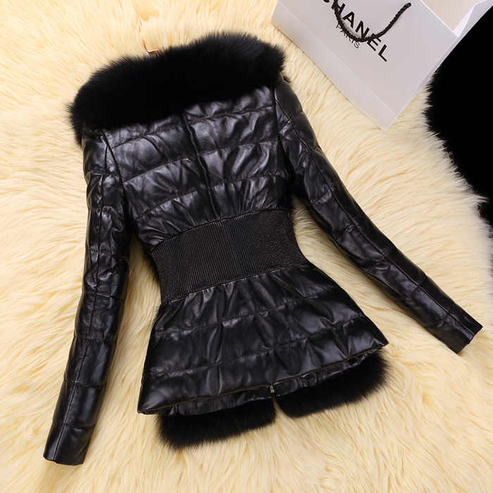 Natural Sheepskin Coat Female Winter Genuine Leather Down Jacket Women Real Fox Fur Collar Coats Warm Outwear Hiver 5522