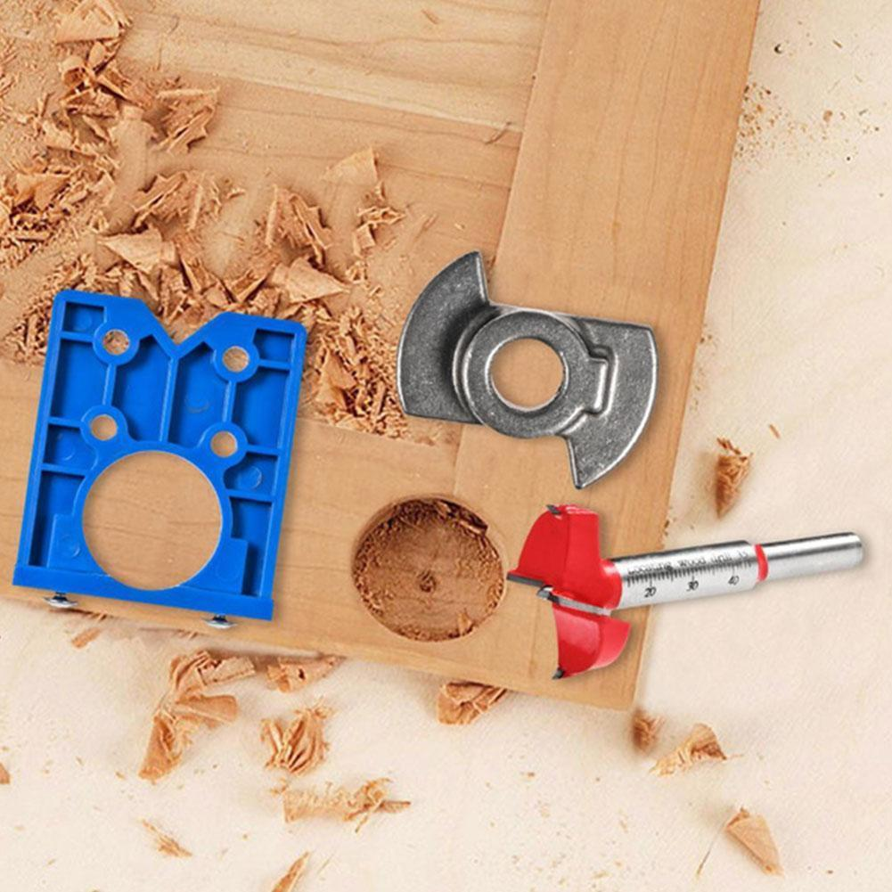 35mm Hinge Drilling Jig Concealed Guide Hinge Hole Cabinet Door Accessories Woodworking Hole Opener Drilling Tool Guide E7P6