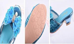 Image 5 - Mädchen Sommer Sandalen Slipper Pailletten Princesse Kinder High Heel Kleid Schuhe Leder Slipper Für Kinder Rutschen