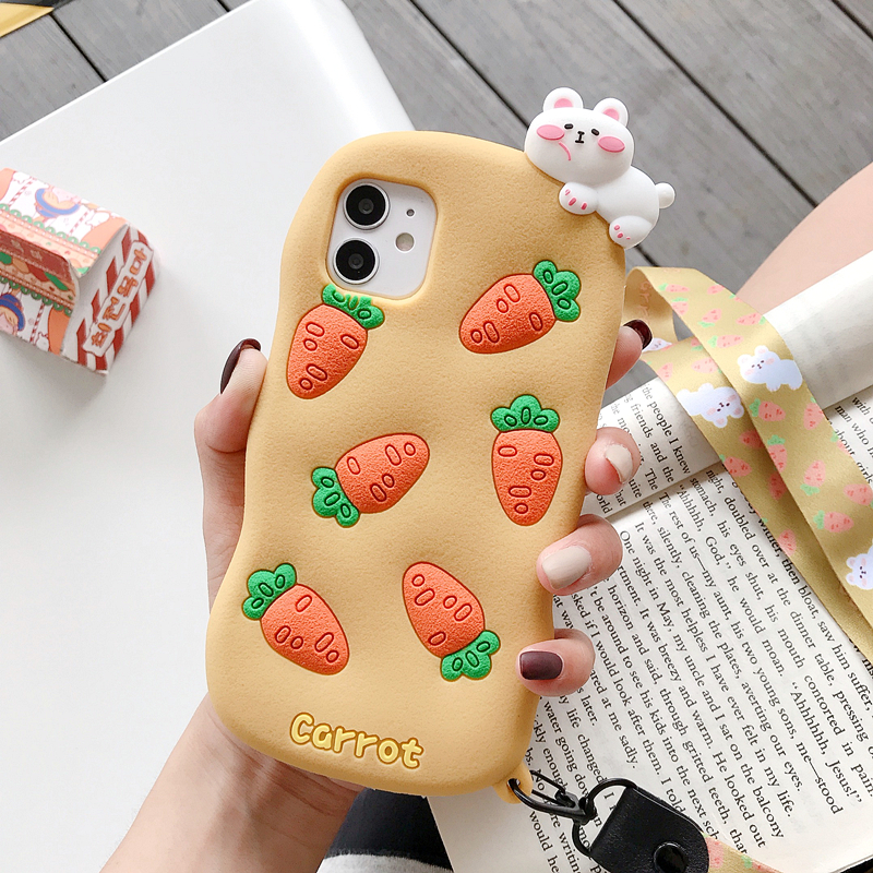 3D Cute Carrot Soft Silicone Phone Case For Iphone 11 Pro Max 12 Mini Case For Iphone XR X XS MAX 8 7 6Plus Cartoon Phone Cases