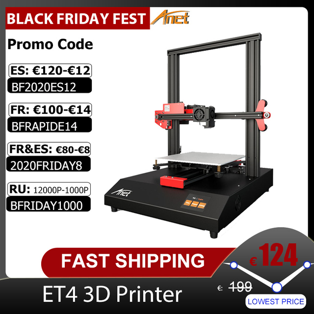 Anet ET4/ET4 Pro 3D 프린터 10 분 조립 2.8 인치 컬러 터치 스크린 이력서 인쇄/필라멘트 감지/자동 레벨링