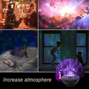 Image 5 - ZK20 Galaxy projektor lampka nocna gwiaździsty Ocean Wave projektor romantyczny kolorowy gwiaździsty USB sterowanie głosem głośnik muzyczny Bluetooth