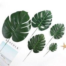 10Pcs Artificial Monstera palm Leaves green plants wedding DIY decoration cheap fake Flowers arrangement plant leaf