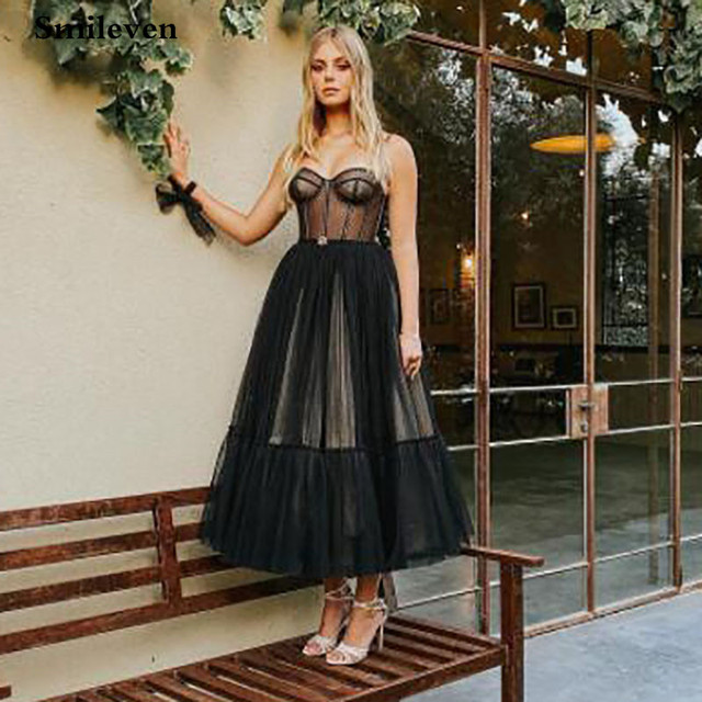 Smileven Modern Black Dotted Tulle Short Prom Dresses Spaghetti Straps Evening Gowns Sweetheart Corset Prom Party Gowns 5