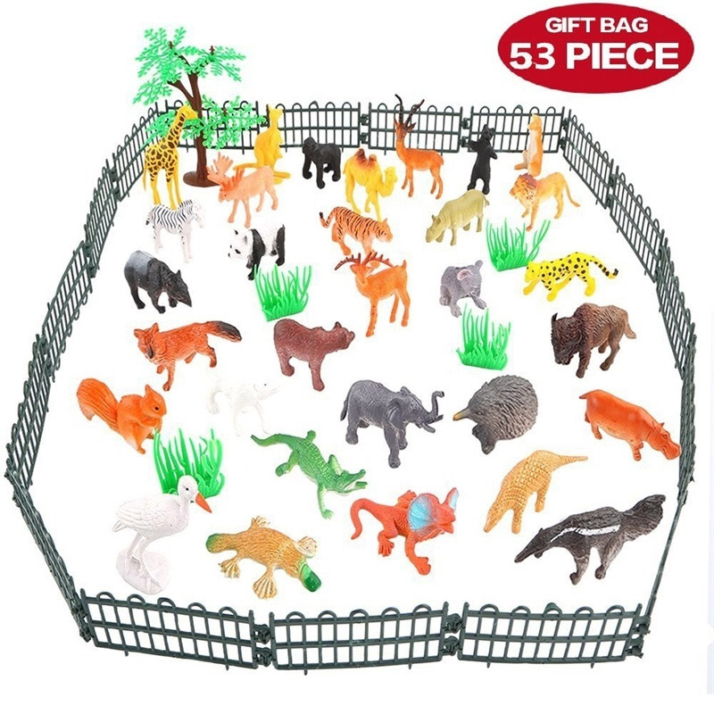 53 Piece Animals Figure Toys Set Realistic Mini Jungle Animals Wild Vinyl Pastic Animal Learning Toys Party Favors Toys