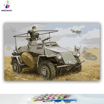 German Armoured Staff Car Painting By Numbers Kit WW2 Military