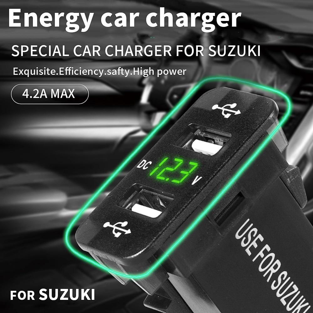 Dual USB Auto Ladegerät 4.2A Für SUZUKI Handy Ladegerät Kabel Adapter Steckdosen Power Adapter Voltmeter