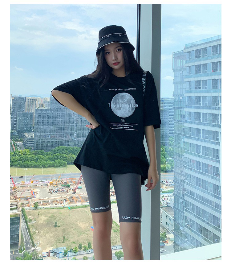 BIVIGAOS Knee Length Printed Letters Ice Silk Cycling Short Women Summer Thin Sport Biker Shorts Slim Casual Shorts Black Gray