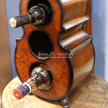 New 60cm Creative Violin Shape Wine Rack Cabinet Shelf 3 Bottles Wooden Upright Wine Holder Rack Bar Home European Retro