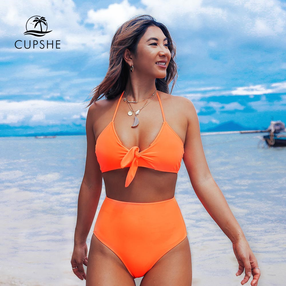 CUPSHE Neon Orange Halter High-Waisted Bikini Sets Sexy Bow-knot Two Pieces Swimwear Women 2020 Beach Bathing Suits Biquinis