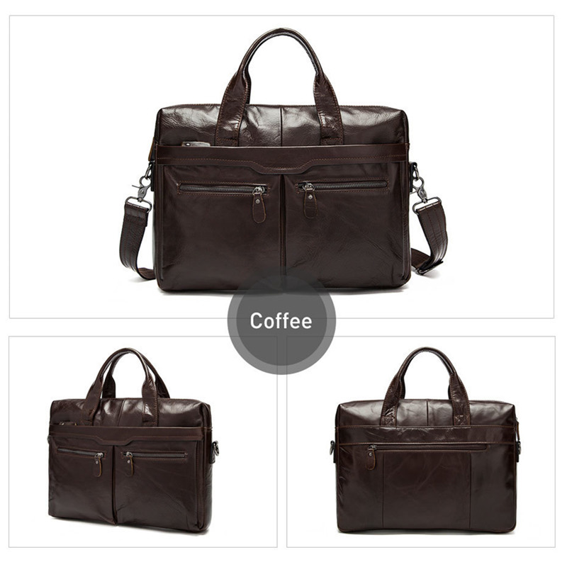 Men Leather Briefcases Men's Genuine Leather Shoulder Crossbody Bags Laptop Briefcase Bag Business Man Briefcase Tote Handbags
