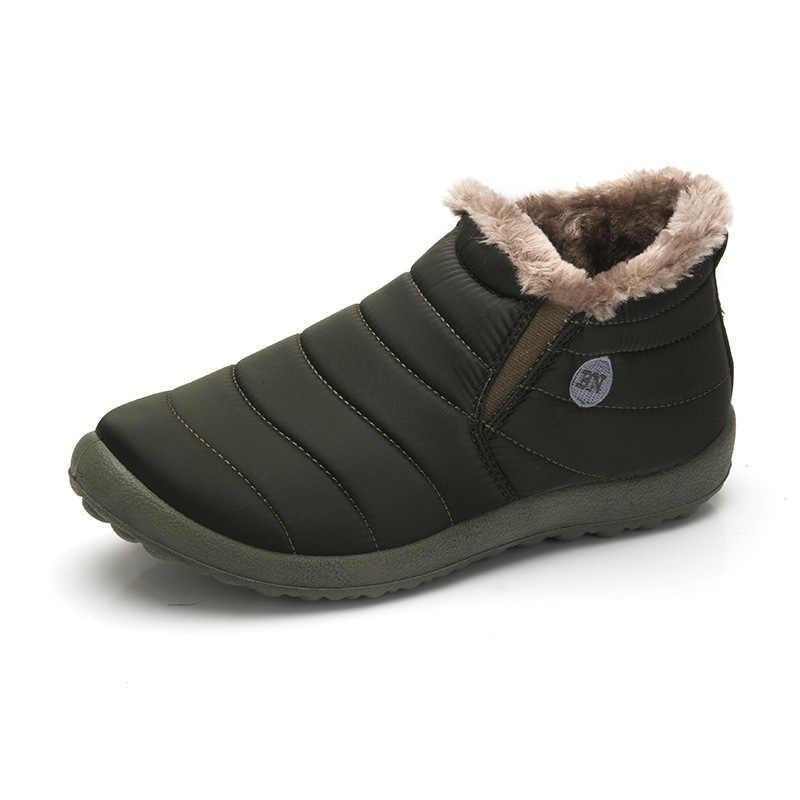 แฟชั่นผู้ชายฤดูหนาวรองเท้ากันน้ำสบาย Snow รองเท้าบูทข้อเท้ารองเท้าผู้ชายชายน้ำหนักเบาใหม่ขนาดใหญ่ H44