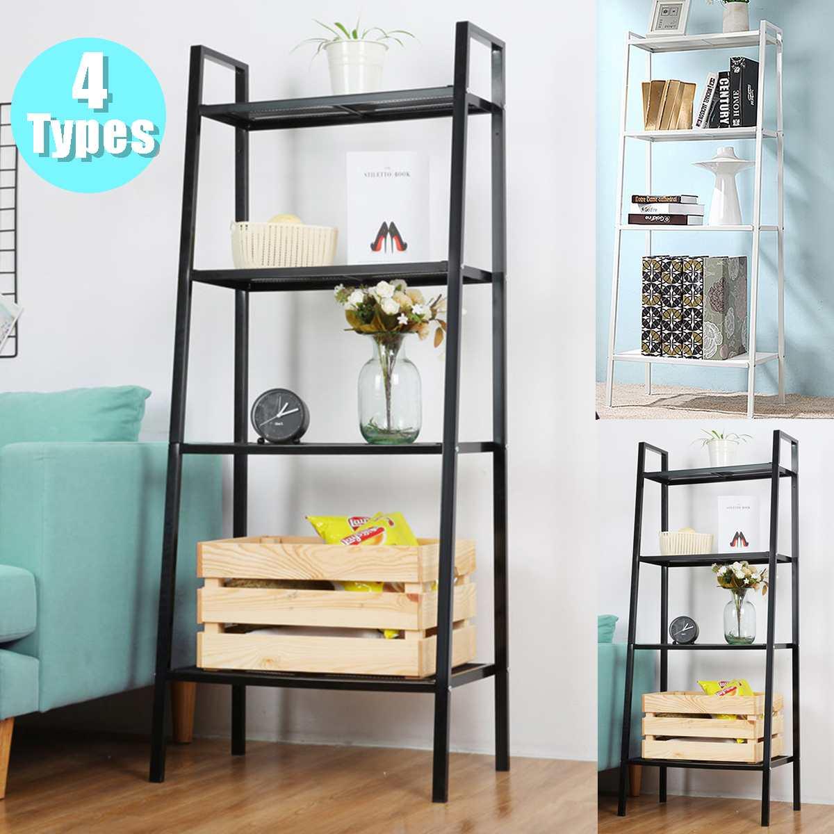 4-Tier Bookcase Bookshelf Leaning Wall Shelf Ladder Storage Display Rack Stand
