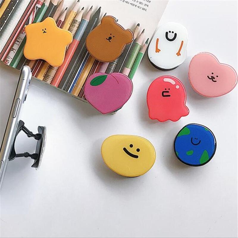 Cartoon Bear Peach Expanding Stand Grip Mount Phone Socket Fold Mobile Smartphones Pocket Desktop Stand Bracket Phone Holder