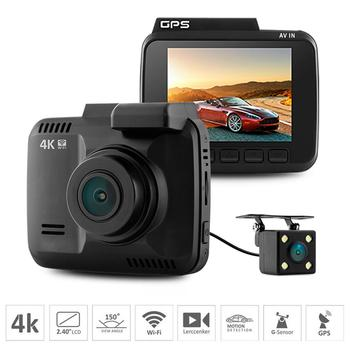 Dual lens Car Wifi DVR camera Recorder Dash Cam G-sensor 2.4 Novatek 96660 Camera Built in GPS Camcorder 4K 2880x2160P image