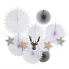 Christmas Decoration White Snowflake Star Banner Set Xmas Snow Winter Decor Navidad Paper fans 2020 new