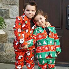 От 3 до 8 лет, модный Рождественский Костюм Джентльмена для маленьких мальчиков галстук+ пиджак+ штаны, костюм Санта-Клауса со снежинками комплект из 3 предметов