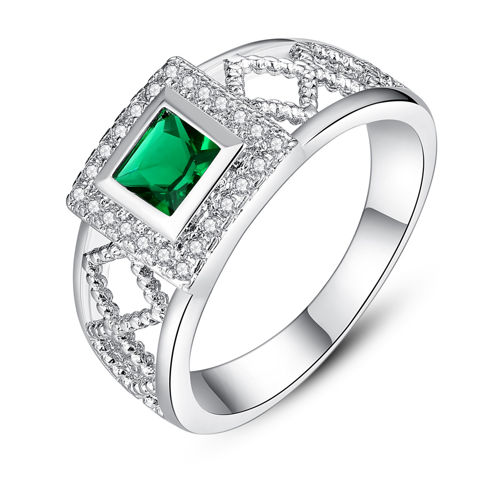 Genuine 14K White Gold Filled Genuine Lab created Emerald AAA ZC Ring