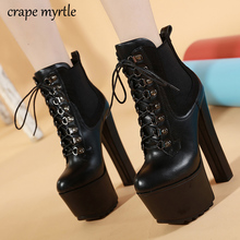 lace up Boots Fashion Thick Heel Ankle booties high heels black high boots Autumn Winter Woman snow Shoes fur boots YMA911 цена