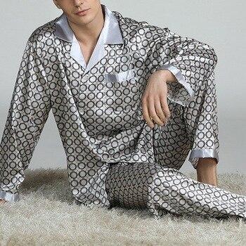 Puimentiua Mens Stain Silk Pajama Sets Pajamas Men Sleepwear Modern Style Silk Nightgown Home Male Satin Soft Cozy Sleeping