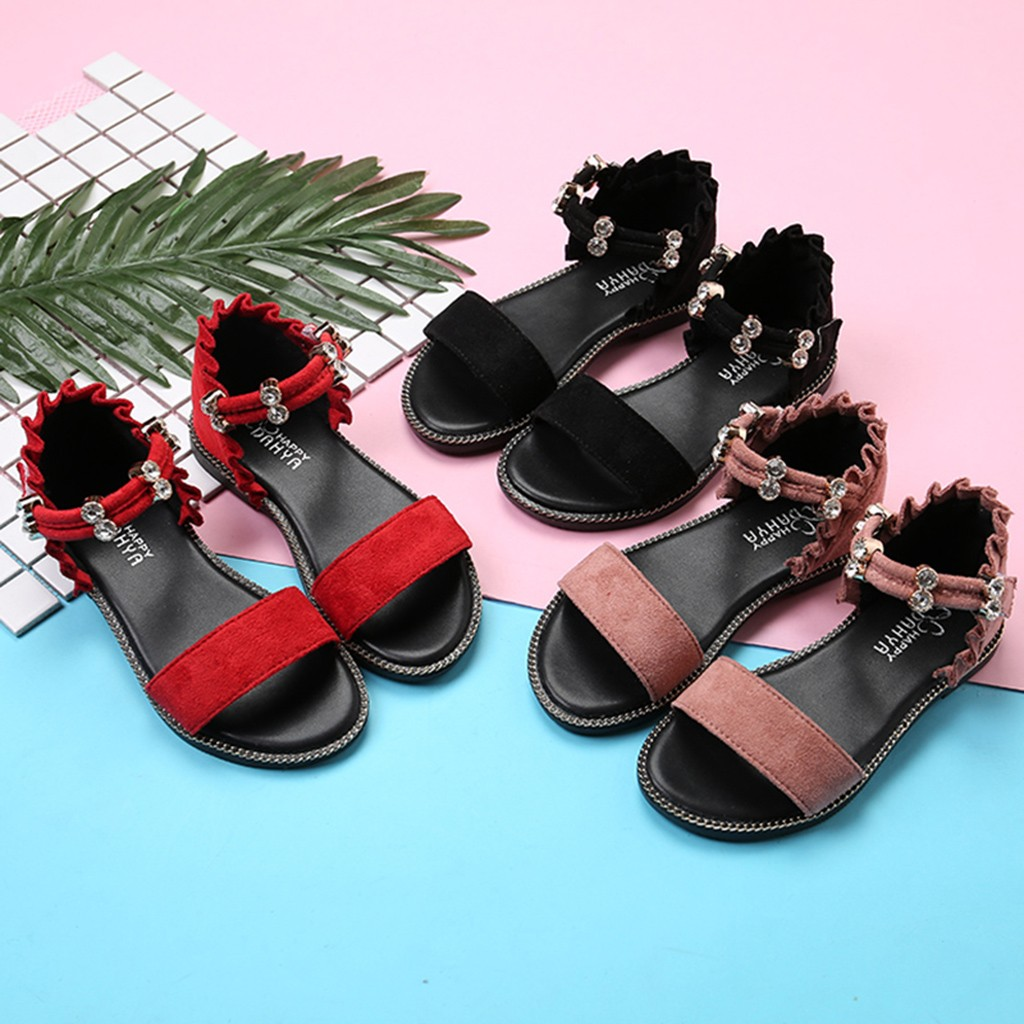 MUQGEW 2019 Summer Fashion Children Baby Girl Rubber Crystal Solid Crystal Casual Beach Sandals Princess Beach Sandals Shoes