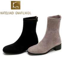 KATELVADI New Autumn Winter Women Boots Solid European Ladies Shoes Fashion Flock Ankle With Thick Heels  K-547