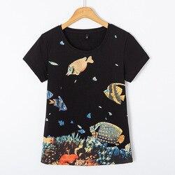 Женская футболка с коротким рукавом, весна-лето 2020, Женская Удобная Корейская футболка ручной работы с бисером и рыбкой