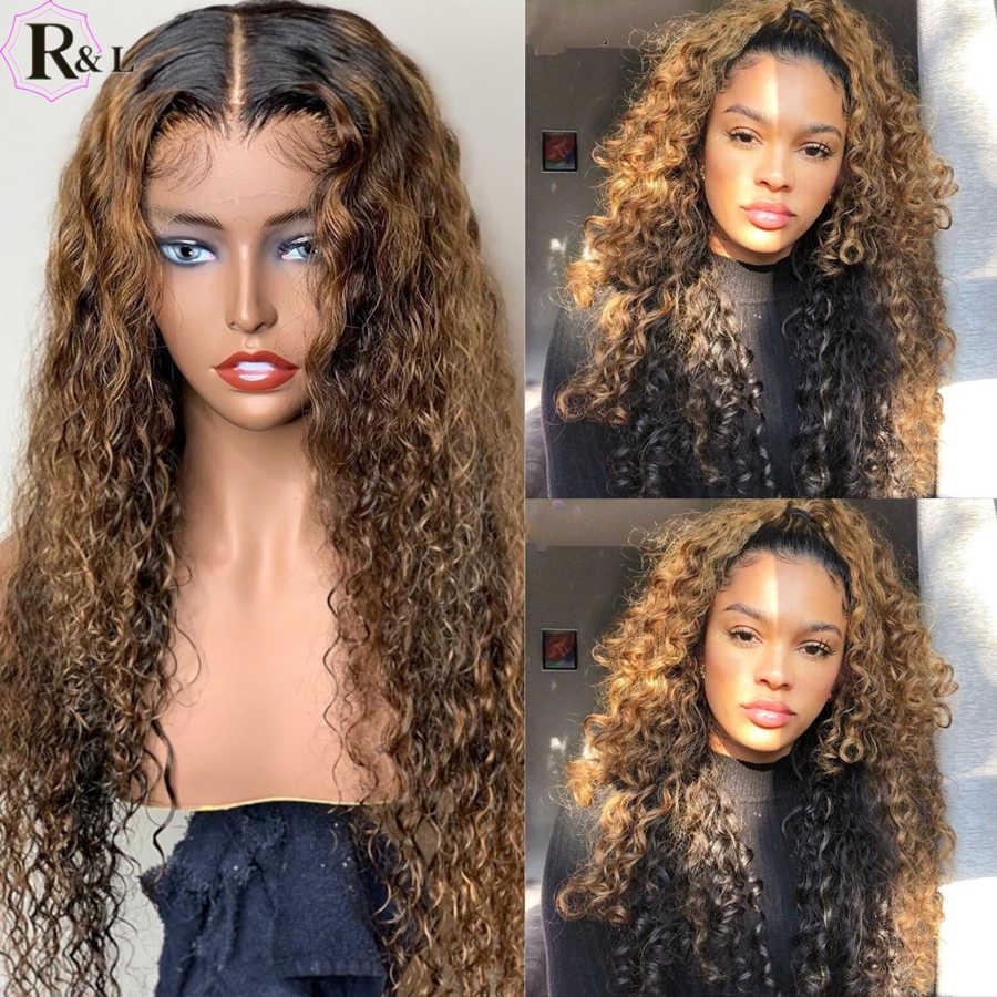 RULINDA, pelucas de cabello humano con rizos de densidad del 250%, resalta el cabello humano de color Ombre, cabello brasileño Remy 360, pelucas con encaje Frontal