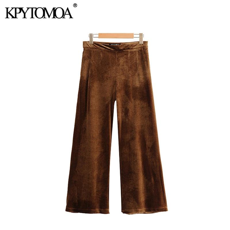 Vintage Stylish Pockets Velvet Wide Leg Pants Women 2020 Fashion High Waist Side Zipper Office Wear Ankle Trousers Pantalones