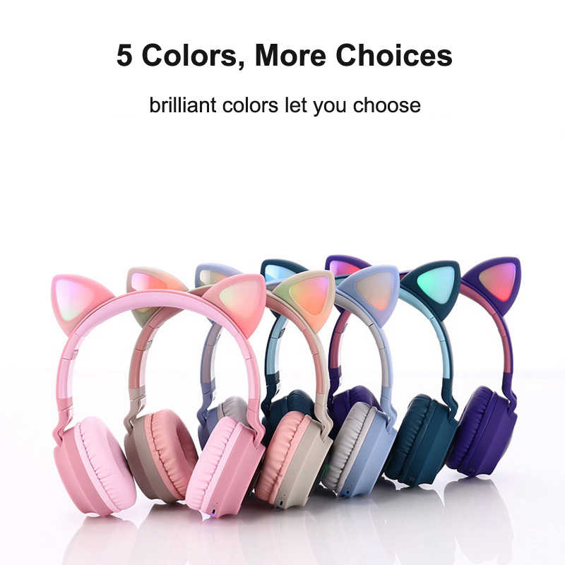 Baru Cute Cat Telinga LED Bluetooth Headphone Bluetooth 5.0 Kids Headphone Bersinar Lampu Handsfree Headset Gaming Earphone untuk PC C