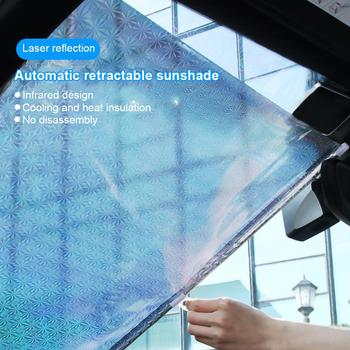 Sun Visor Car Sun Shade For Car Front Windshield Retractable Roller Sunshade Anti-UV Resistant Heat 45/50cm With 3 Suction Cups image
