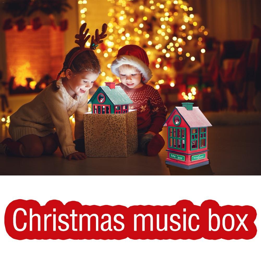 Noël boîte à musique maison décoration noël ornement carrousel boîte à musique pour enfants filles amis