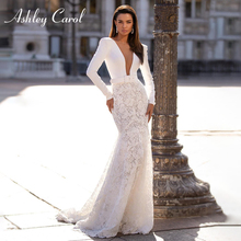 Long Sleeve Lace Mermaid Wedding Dresses 2020 Elegant Satin V neck Sashes Appliques Ashley Carol Bride Gown Vestido De Noiva