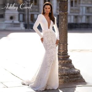Image 1 - Long Sleeve Lace Mermaid Wedding Dresses 2020 Elegant Satin V neck Sashes Appliques Ashley Carol Bride Gown Vestido De Noiva