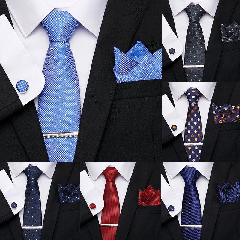 Wedding Men Neckties Luxury Tie Pocket Square 7.5 CM 100% Silk Tie Clip Cufflinks Handkerchief Tie Set Formal Dress Accessiores