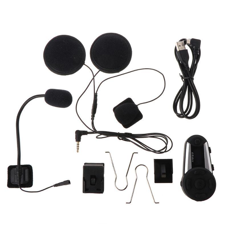 1Set T20S Motorcycle Helmet BT Wireless Intercom 1200M Distance 6 Rider Waterproof With Screen Supports FM Radio